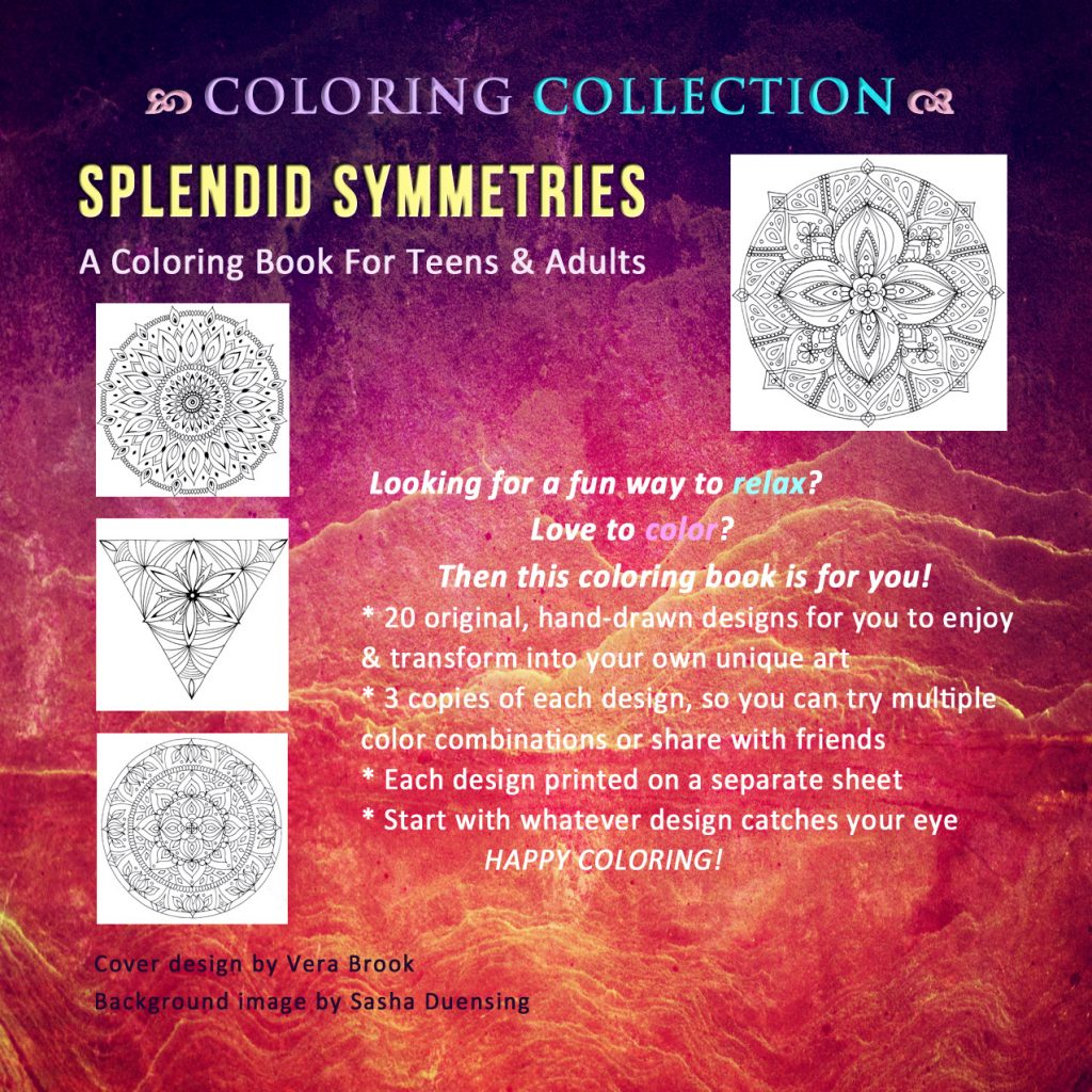 Back cover of Splendid Symmetries coloring book by Vera Brook