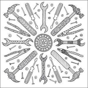 Design 2 with hammers from Terrific Tools coloring book