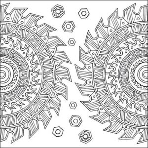 Design 3 with sharp wheels from Terrific Tools coloring book