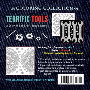 Back cover of Terrific Tools coloring book by Vera Brook