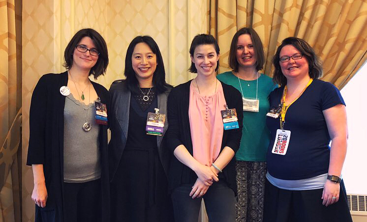 Vera Brook, Fonda Lee, Peng Shepherd, Tracy Townsend, and Rebecca Thorne at a SFWA conference We Are New Here panel